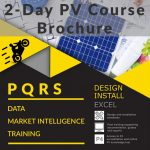 Image of the front page of the PQRS PV course brochure. This is a training course for solar PV installers and designers. This practical course allows students to learn the principles of solar installation and design