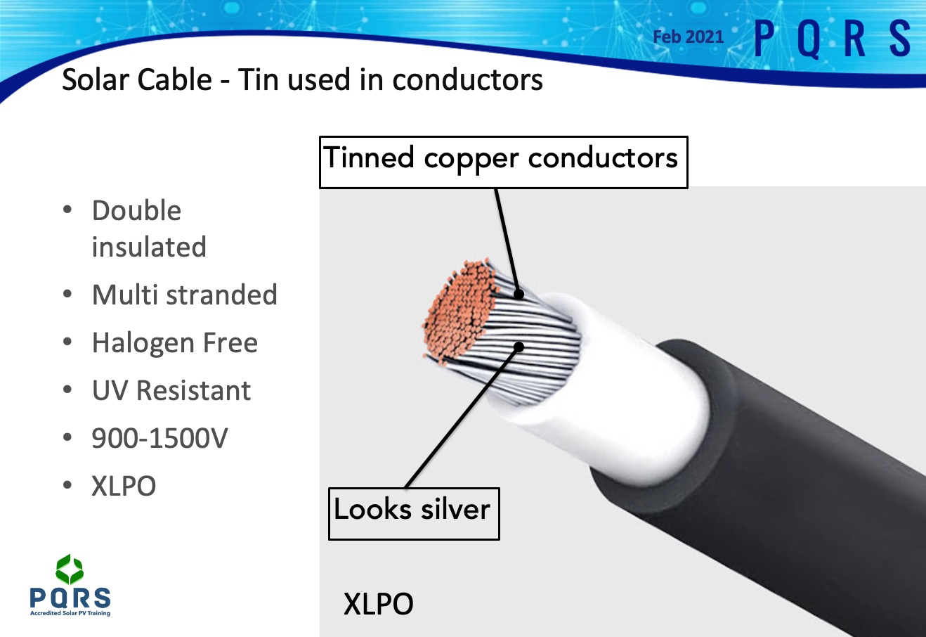 A Slide showing solar PV cable, which is discussed during the product section of the sales course