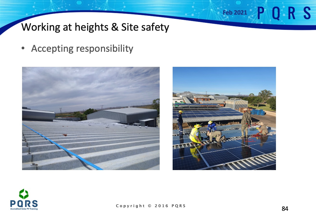 Slide showing safety lines as well as solar installers on a roof in the Northern Cape, South Africa